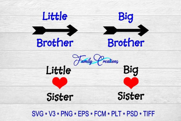 Download Free Big Little Brother Sister Grafico Por Family Creations for Cricut Explore, Silhouette and other cutting machines.