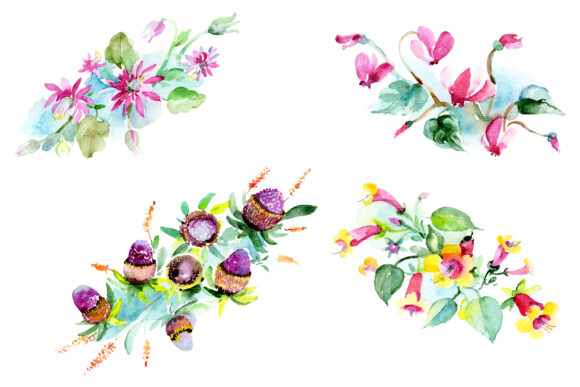 Print on Demand: Bilbao Flower Bouquet Watercolor Png Graphic Illustrations By MyStocks