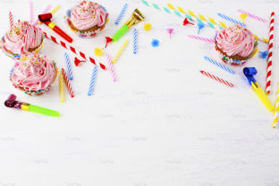 Birthday Background with Pink Cupcakes Graphic By TasiPas