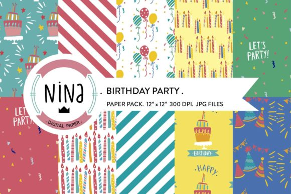 Birthday Party Digital Paper Pack Graphic Patterns By Nina Prints