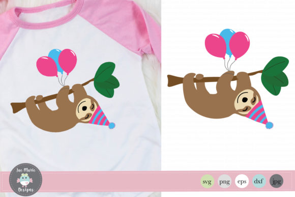 Birthday Sloth Cute Sloth Clipart Graphic Crafts By thejaemarie