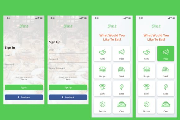 BiteIt Mobile UI Kit Graphic UX and UI Kits By Web Donut - Image 3