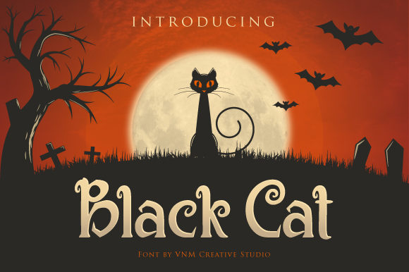 Print on Demand: Black Cat Display Font By VNM Creative Studio