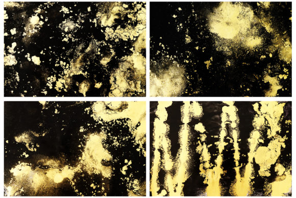 Black Gold Ink Textures Abstract Ink