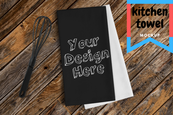Print on Demand: Black Kitchen Towel Mockup Graphic Product Mockups By Mockup Venue