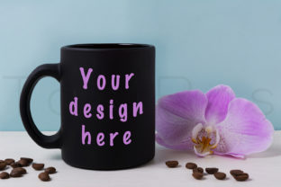 Print on Demand: Black Mug Mockup with Orchid and Coffee Graphic Product Mockups By TasiPas