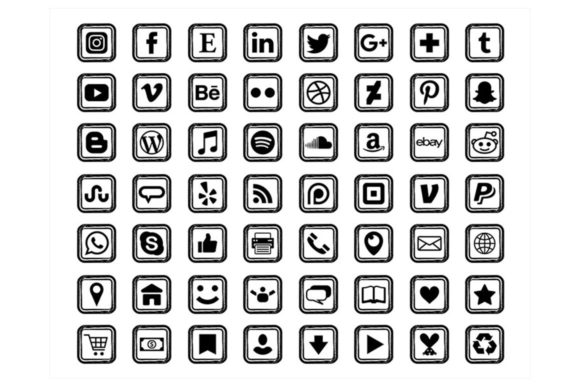 Print on Demand: Black Sketch Square Social Media Icons Graphic Icons By Running With Foxes - Image 1