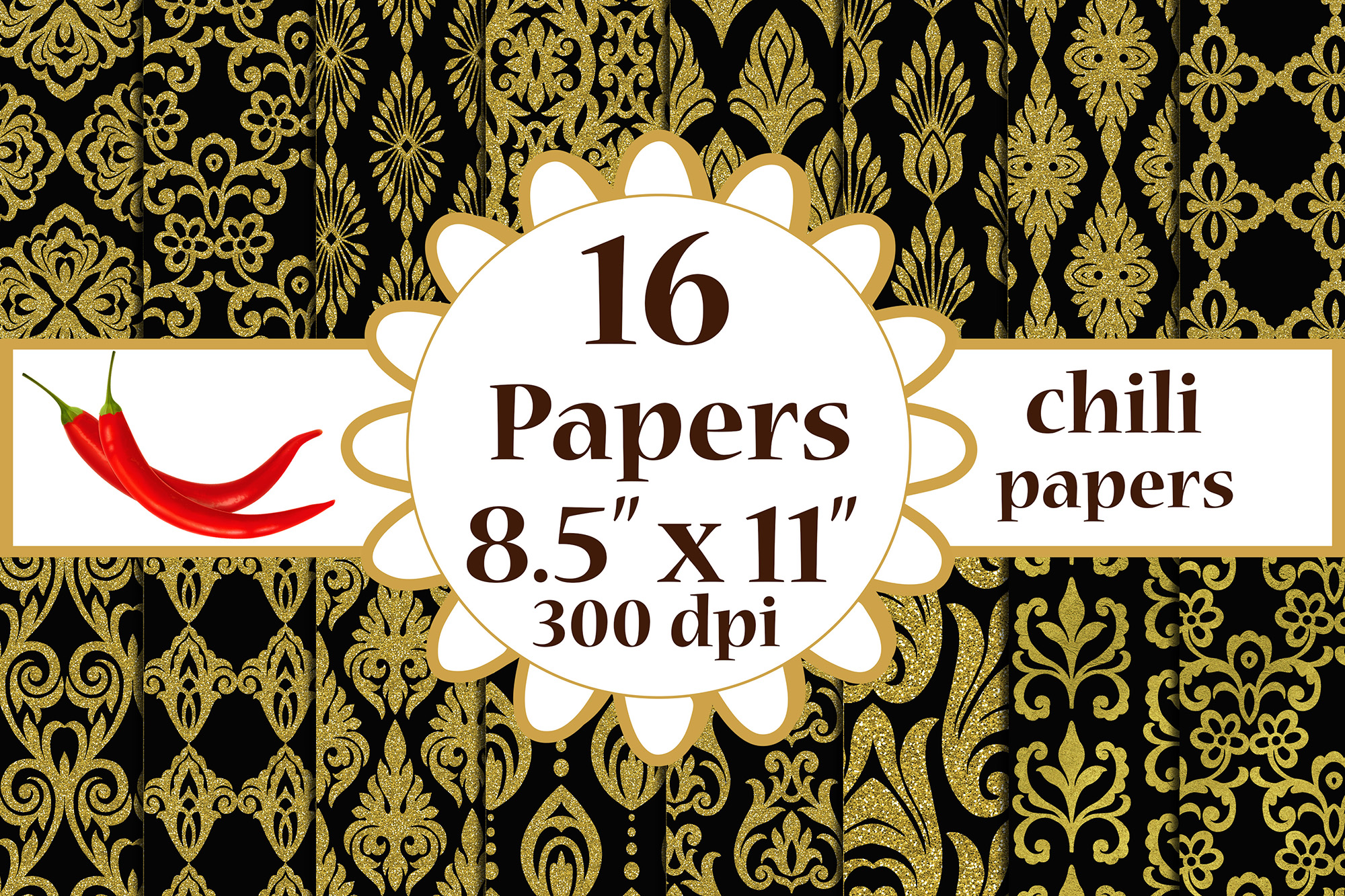 Download Free Black And Gold Paper Black Gold Digital Graphic By Chilipapers for Cricut Explore, Silhouette and other cutting machines.
