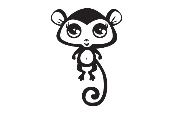 Download Free Black And White Cute Monkey With Big Eyes Svg Cut File By for Cricut Explore, Silhouette and other cutting machines.