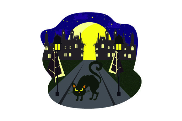 Black Cat Crossing Street with Full Moon - Halloween Halloween Craft Cut File By Creative Fabrica Crafts