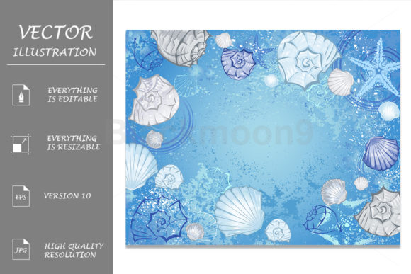 Blue Background with Seashells Graphic Backgrounds By Blackmoon9