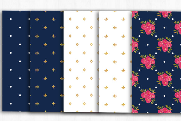 Blue Gold Floral Digital Papers Graphic Patterns By BonaDesigns - Image 4