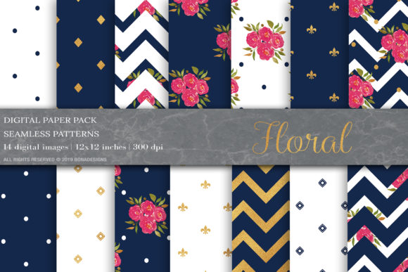Blue Gold Floral Digital Papers Graphic Patterns By BonaDesigns