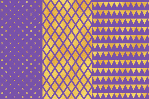 Blue Gold Geometric Digital Papers Graphic Patterns By BonaDesigns - Image 2