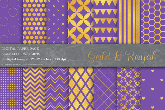 Blue Gold Geometric Digital Papers Graphic Patterns By BonaDesigns - Image 1