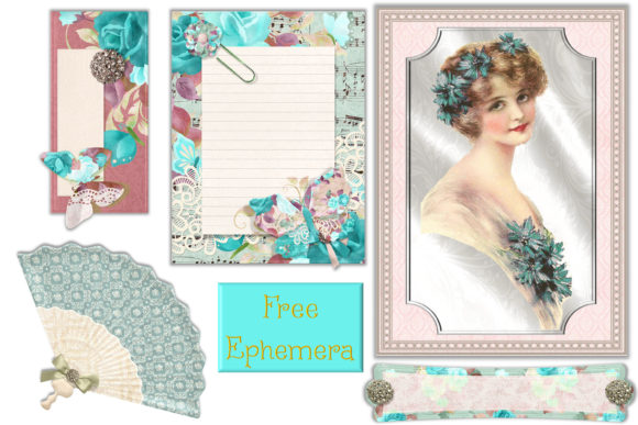 Print on Demand: Blue Lady Scrapbooking or Journaling Kit Graphic Crafts By The Paper Princess - Image 5