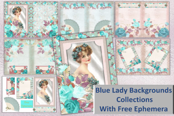 Print on Demand: Blue Lady Scrapbooking or Journaling Kit Graphic Crafts By The Paper Princess - Image 1