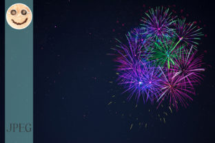 Blue Purple Green Celebration Firework Graphic By TasiPas