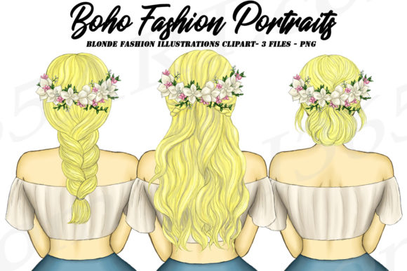 Boho Fashion Blonde Girl Graphic Illustrations By Deanna McRae