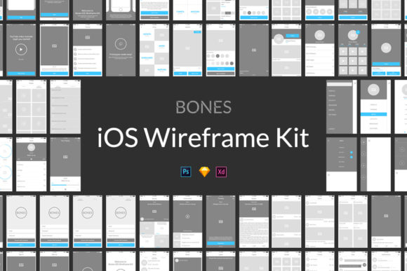 Bones IOS Wireframe Kit Graphic UX and UI Kits By Web Donut