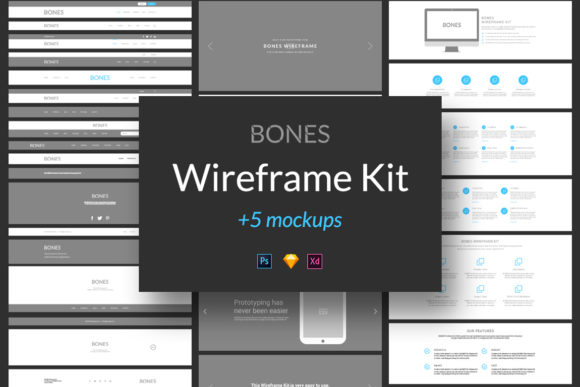 Bones Wireframe Kit Graphic UX and UI Kits By Web Donut
