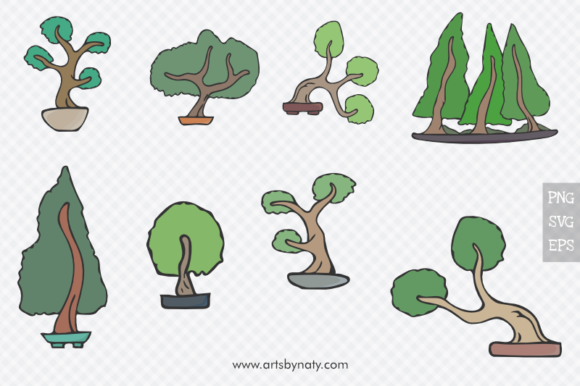 Download Free Bonsai Trees Vector Illustration Set Graphic By Artsbynaty for Cricut Explore, Silhouette and other cutting machines.