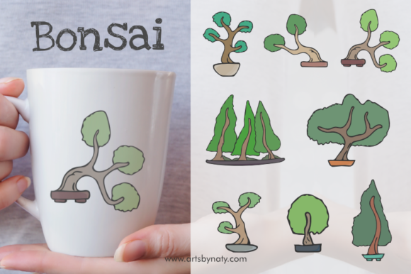 Print on Demand: Bonsai Trees Vector Illustration Set Graphic Illustrations By artsbynaty