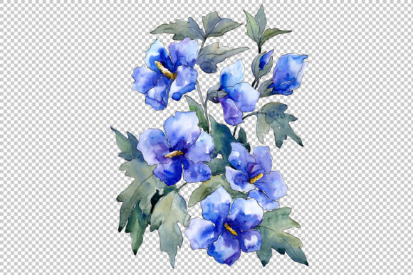 Print on Demand: Bouquet of Flowers Blues Nona Watercolor Graphic Illustrations By MyStocks - Image 2