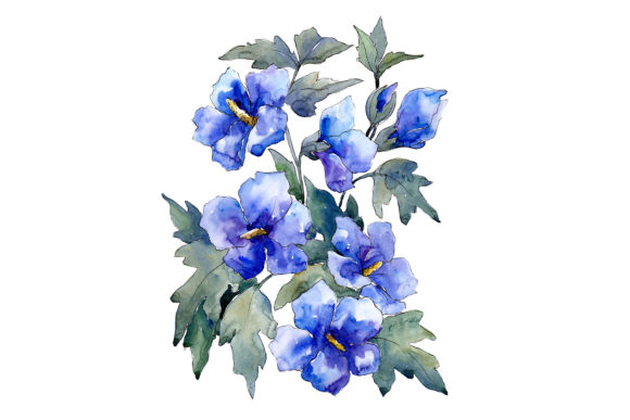 Print on Demand: Bouquet of Flowers Blues Nona Watercolor Graphic Illustrations By MyStocks - Image 1
