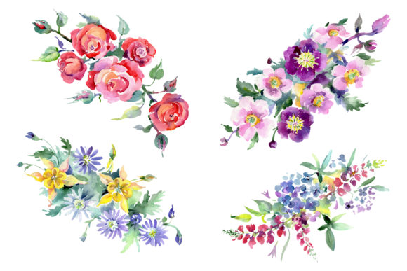 Print on Demand: Bouquet of Flowers Colombo Watercolor Graphic Illustrations By MyStocks