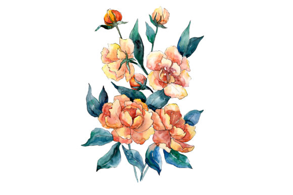 Print on Demand: Bouquet of Flowers Dimeter Orange Graphic Illustrations By MyStocks