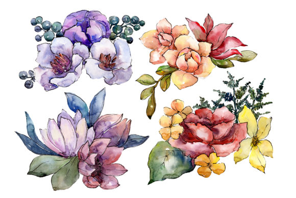 Print on Demand: Bouquet of Flowers Hugs Watercolor Grafik Illustrationen von MyStocks