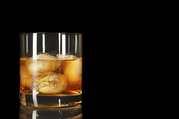 Print on Demand: Bourbon Glass on the Black Background Graphic Food & Drinks By TasiPas
