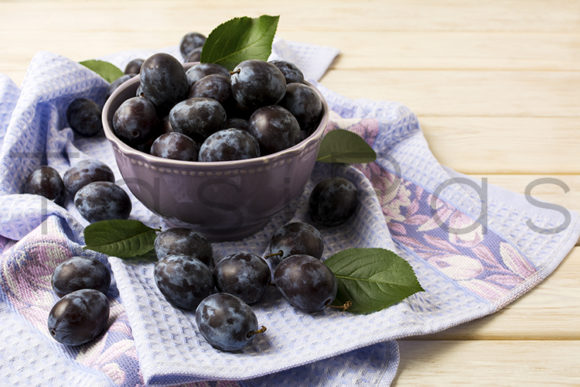 Print on Demand: Bowl with Fresh Plums Graphic Food & Drinks By TasiPas