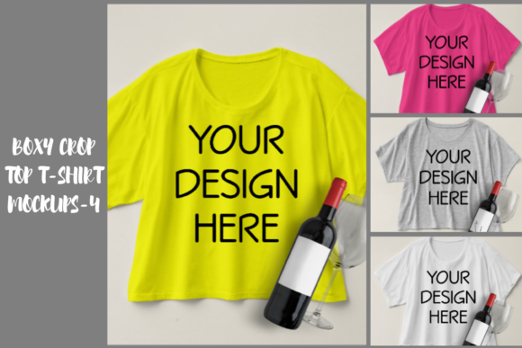 Print on Demand: Boxy Crop Top T-shirt Mockups 4 Graphic Product Mockups By Mockup Venue - Image 1