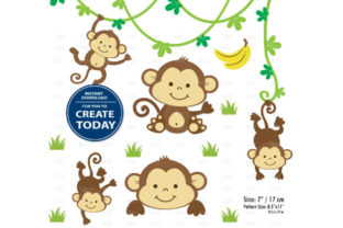 Boy Monkey Clip Art Monkey Print Set Graphic By adlydigital
