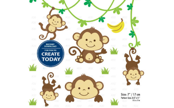Print on Demand: Boy Monkey Clip Art Monkey Print Set Graphic Illustrations By adlydigital - Image 1
