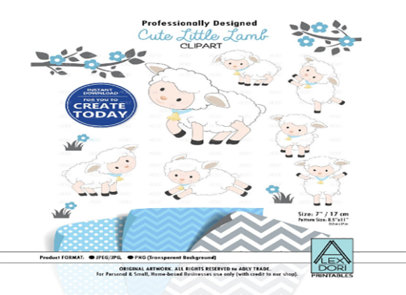 Print on Demand: Boy Sheep Lamb Clip Art in White & Blue Graphic Illustrations By adlydigital - Image 1