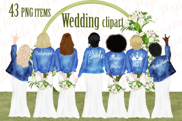 Download Free Bride And Bridesmaids Clipart Graphic By Chilipapers Creative for Cricut Explore, Silhouette and other cutting machines.