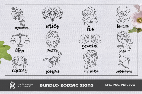 Print on Demand: Bundle- Zodiac Signs Graphic Crafts By duka