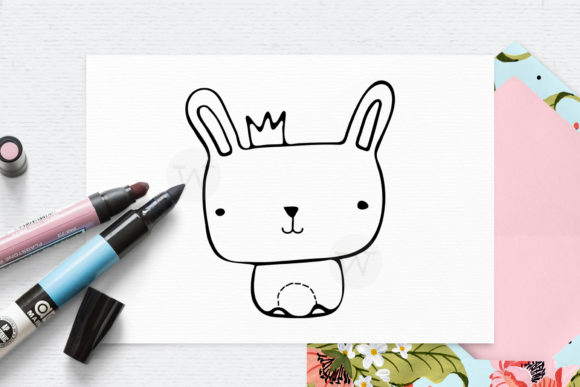 Print on Demand: Bunny Digital Stamp Graphic Illustrations By Wallifyer