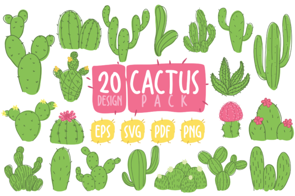 Print on Demand: Cactus Clipart Bundle Graphic Illustrations By geadesign
