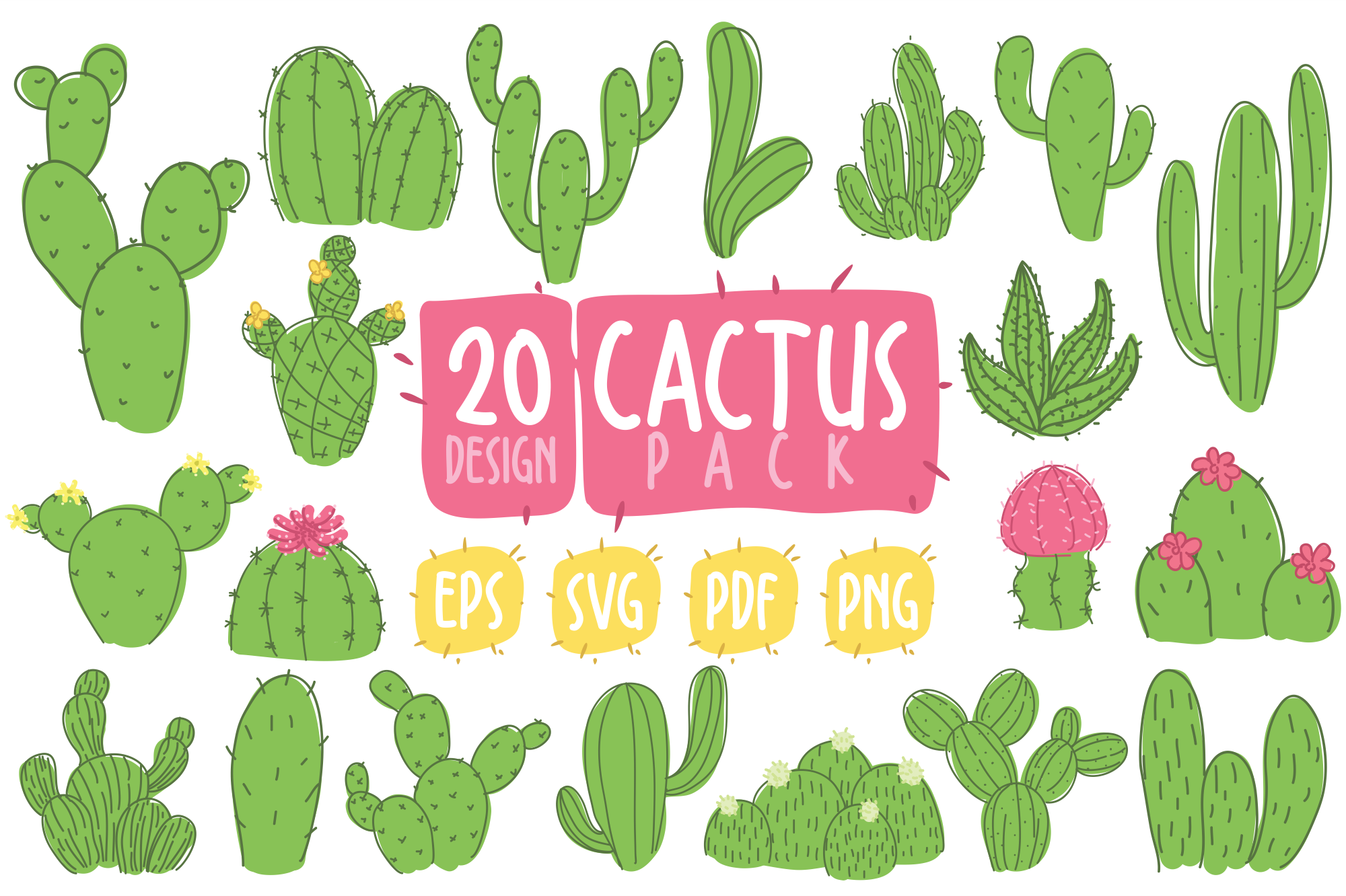 Download Free Cactus Clipart Bundle Graphic By Geadesign Creative Fabrica for Cricut Explore, Silhouette and other cutting machines.