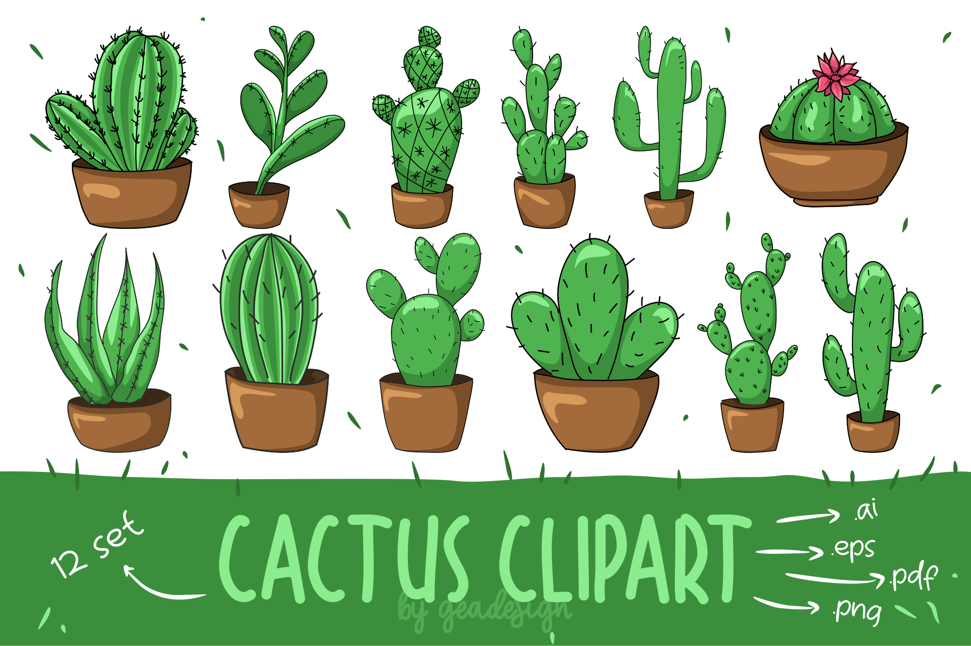 Download Free Cactus Clipart Set Graphic By Geadesign Creative Fabrica for Cricut Explore, Silhouette and other cutting machines.