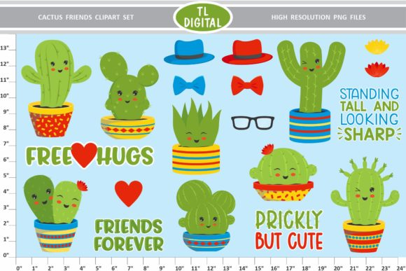 Download Free Cactus Friends Clipart Set 20 Files Graphic By Tl Digital for Cricut Explore, Silhouette and other cutting machines.