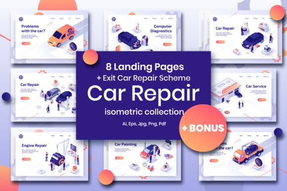 Download Free Car Repair Set Isometric Design Graphic By Teravector Creative for Cricut Explore, Silhouette and other cutting machines.