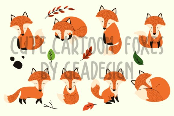 Download Free Cartoon Foxes Graphic By Geadesign Creative Fabrica for Cricut Explore, Silhouette and other cutting machines.