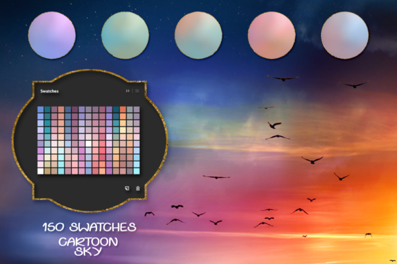 Cartoon Sky Swatches Graphic Actions & Presets By FaeryDesign
