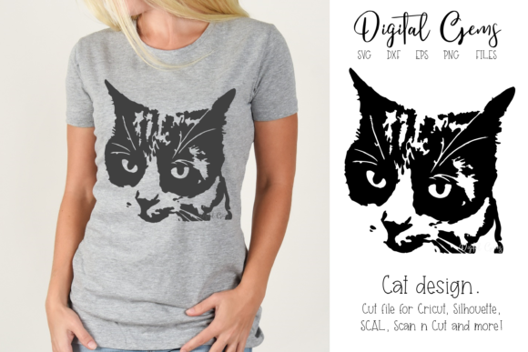 Download Free Cat Face Design Graphic By Digital Gems Creative Fabrica for Cricut Explore, Silhouette and other cutting machines.