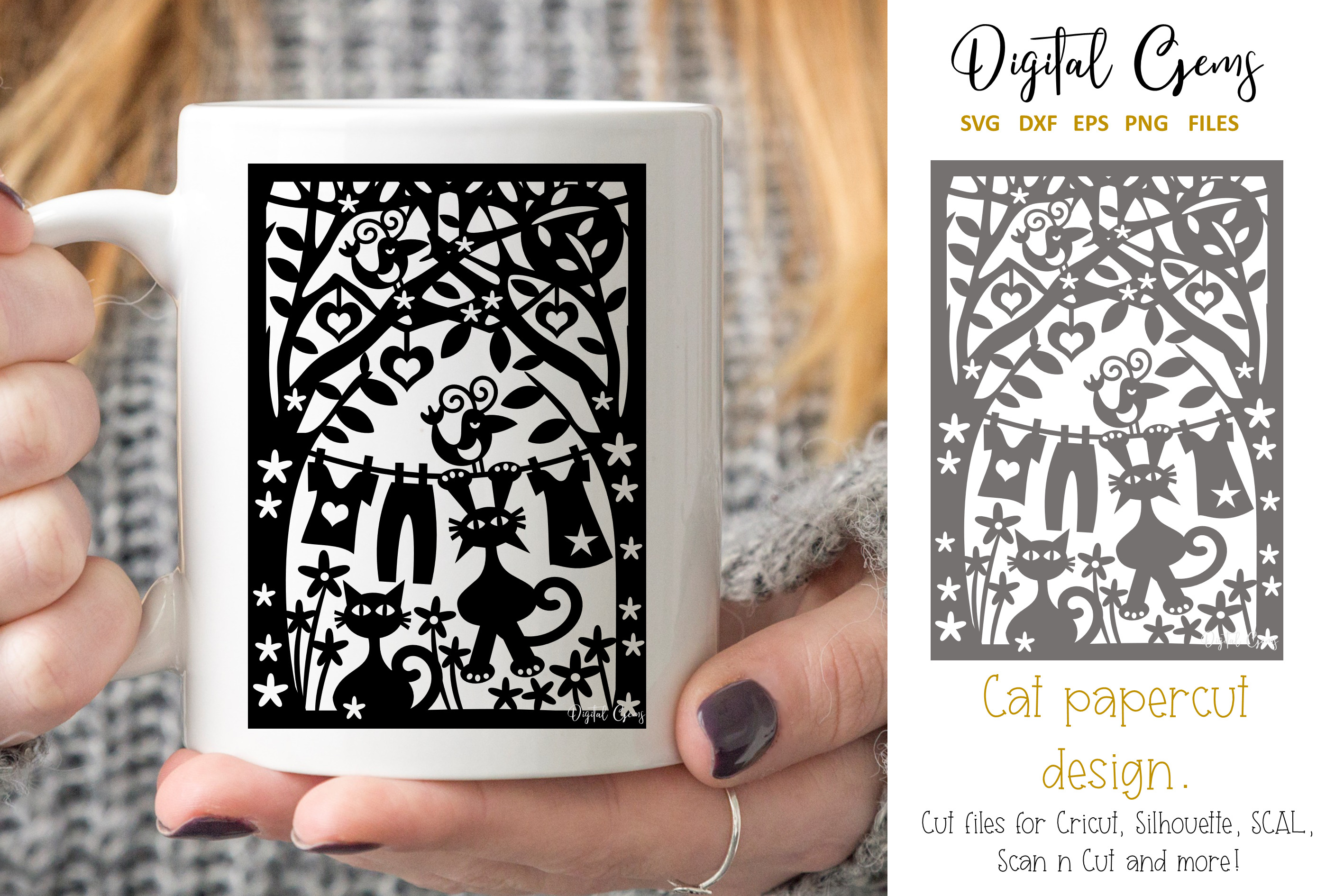 Download Free Cat Papercut Design Graphic By Digital Gems Creative Fabrica for Cricut Explore, Silhouette and other cutting machines.